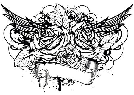 страсть: Векторная иллюстрация розы крылья и узоры Иллюстрация