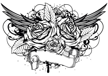 tattoo rose: Vector illustration roses wings and patterns Illustration
