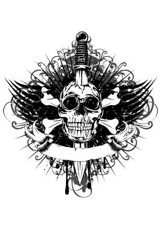 Vector illustration human death skull broken sword and tribal wings Illustration