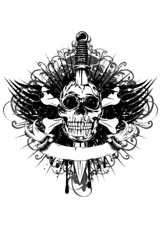 Vector illustration human death skull broken sword and tribal wings Vector