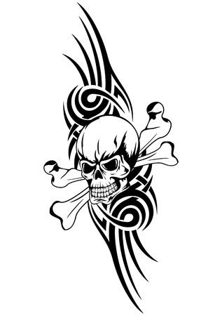 morte: crânio da morte humana ilustração vetorial com ossos e trbal Ilustração