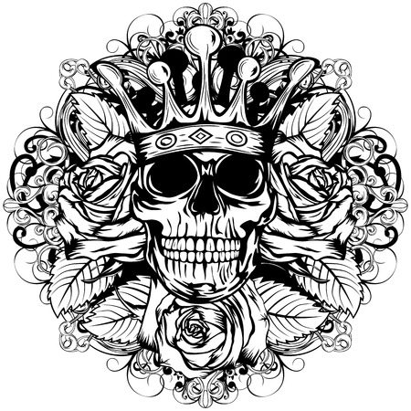 Vector illustration human death skull in crown with roses Illustration