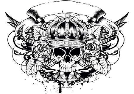 skull and crown: Vector illustration human death skull in crown with roses Illustration