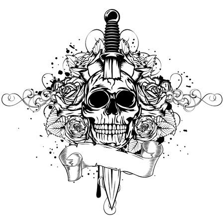 Vector illustration human death skull broken sword with roses Illustration