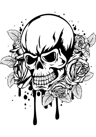 Vector illustration human death skull with roses