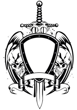 Vector illustration human death skulls sword and shield Vector