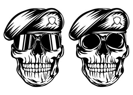 Vector illustratie schedel in baret Stock Illustratie