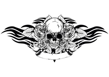 morte: Crânio da morte humana do vetor com rosas e asas tribais