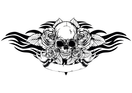 Vector illustration du crâne de mort humaine avec des roses et des ailes tribales