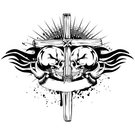 Vector illustration two human skulls cross and tribal wings