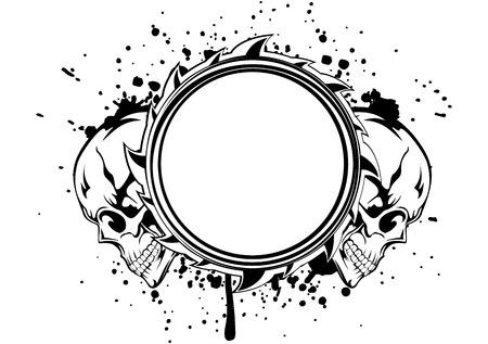 skull tattoo: Vector illustration human death skulls and frame