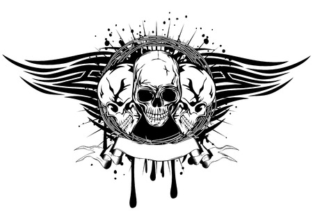 Vector illustration human death skulls with barbwire and tribal wings