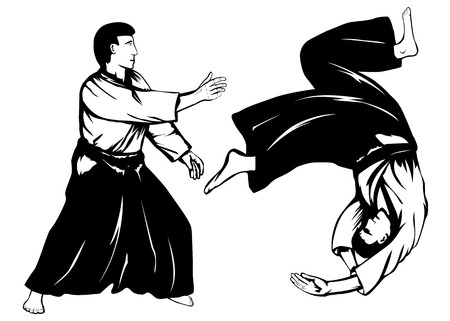 illustration two aikidokas carry out a throw Vector