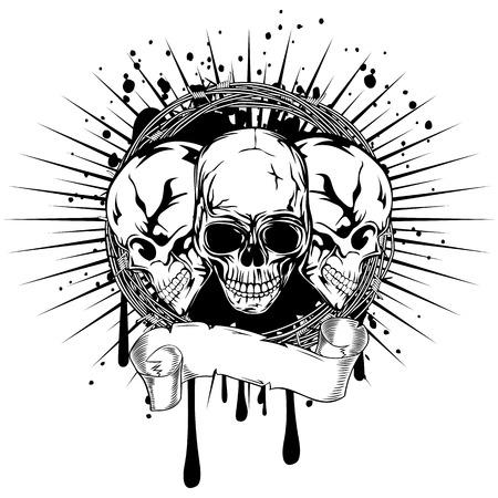illustration three human death skulls with barbwire