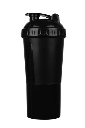 Black shaker for sports food and vitamins isolated white background Standard-Bild