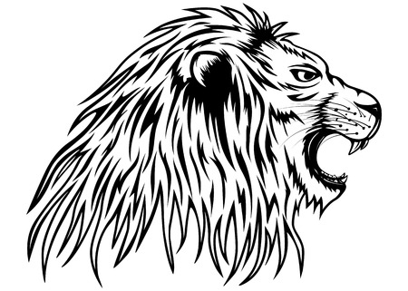 growling: Vector illustration growling lion