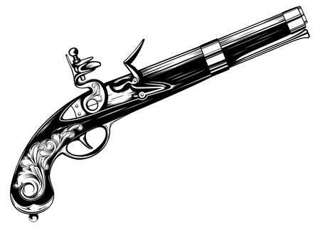 flint: Vector illustration old flintlock pistol