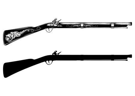 ベクトル イラスト古い火打ち石銃ライフル  イラスト・ベクター素材