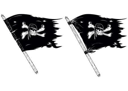 drapeau pirate: Résumé vecteur drapeaux illustration de pirates