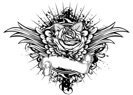 tatouage ange: Roses illustration vectorielle ailes et modèles Illustration