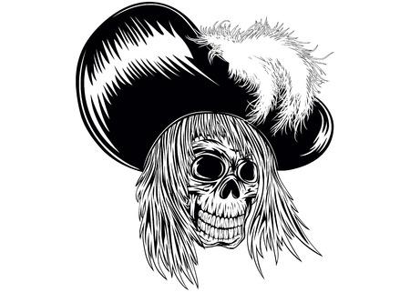 swashbuckler: Abstract vector illustration skull in hat