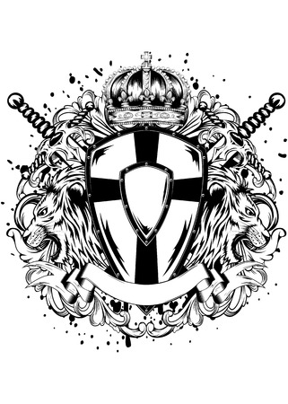 shield wings: Abstract vector illustration crossed swords, crown, board and lions