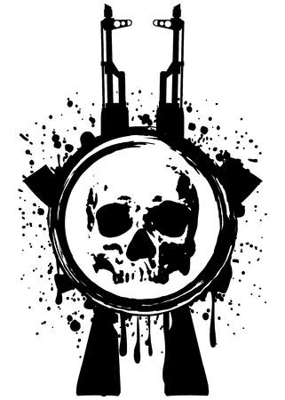 kalashnikov: Abstract vector illustration two automatic rifles and skull