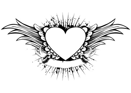 heart with wings: Abstract vector illustration frame with wings