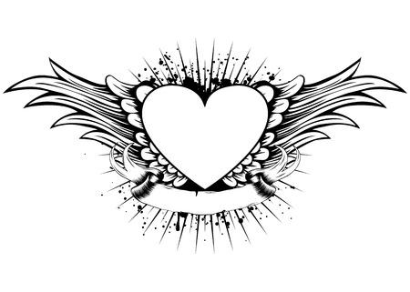 tatouage ange: Résumé illustration vector frame avec des ailes