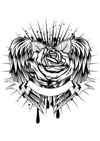 tatouage fleur: Abstract vector illustration rose et des ailes Illustration