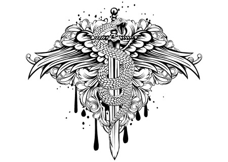 warriors: Abstract vector illustration sword with snake and wings