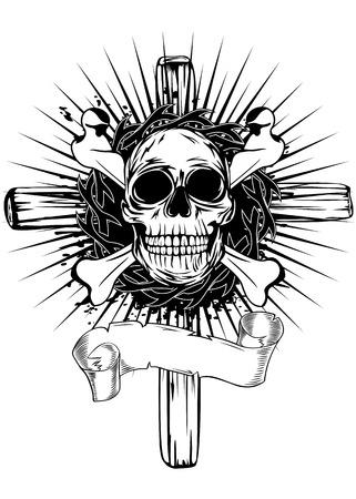 grunge cross: Abstract vector illustration cross, skull and bones