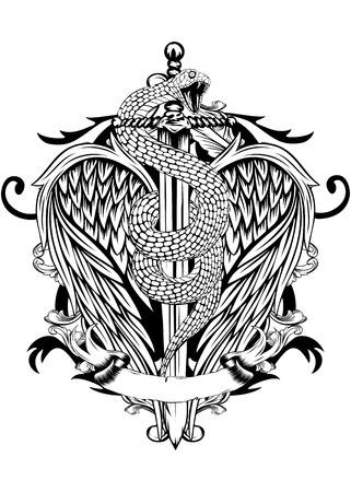 utsirad: Abstrakt vektor illustration svärd med orm och vingar Illustration