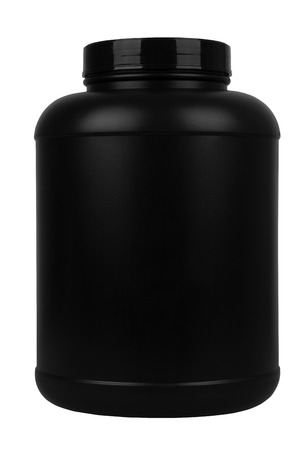Black plastic jar with sport nutrition whey or gainer isolated on white background.
