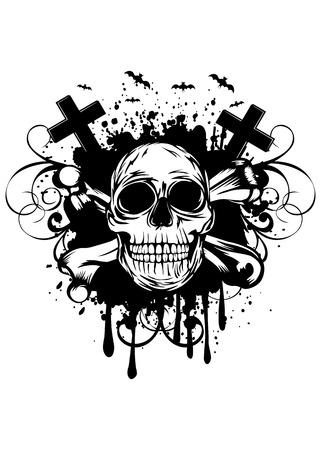 skull and crossed bones: Vector ilustraci�n de resumen de antecedentes cr�neo y huesos cruzados Vectores