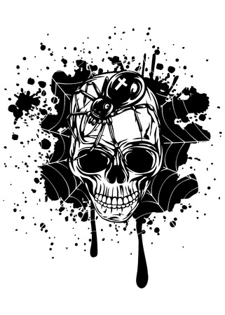 Abstract vector illustration human skull with spider and web Vector
