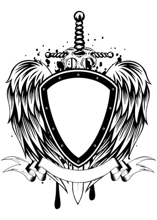 shield wings: Abstract vector illustration sword board and wings Illustration