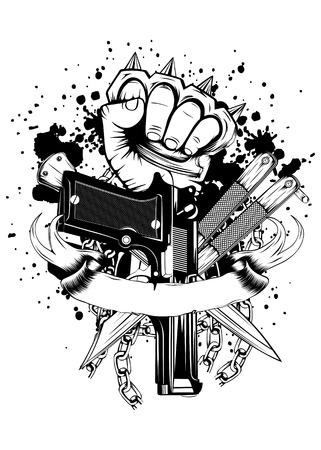braqueur: Vector illustration main avec coups de poing am�ricains pistolets couteaux