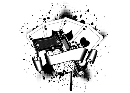 game gun: Grunge background pistols and playing cards dice chips Illustration