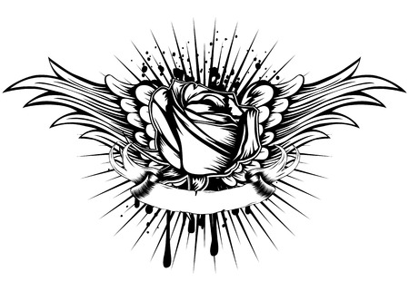rose tattoo: Abstract vector illustration rose and wings