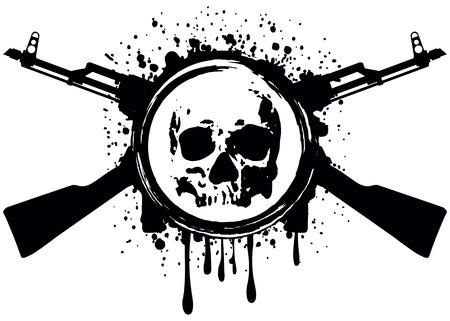 skull: Abstract vector illustration travers� fusils automatiques et le cr�ne Illustration