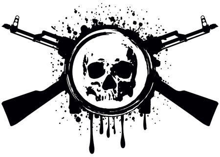 Abstract vector illustration crossed automatic rifles and skull