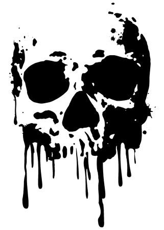 splatter: Resumen de vectores cráneo ilustración del grunge Vectores