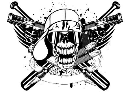 Vector illustration skull in cap knifes bats and two pistols Illustration