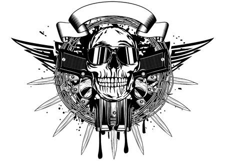 Vector illustration crâne dans lunettes de soleil et deux pistolets
