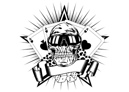 gamblers: Vector illustration skull in sunglasses playing cards dice chips Illustration