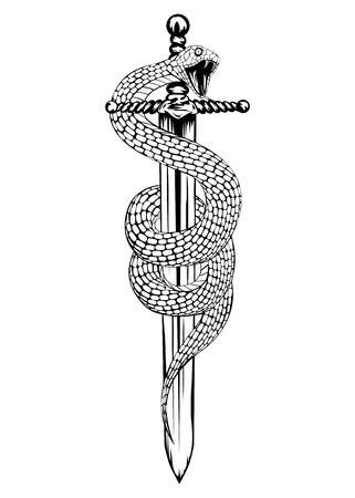 cuchillos: Resumen ilustraci�n vectorial espada con la serpiente