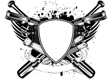 hoodlum: Vector illustration grunge frame knifes bats and two pistols