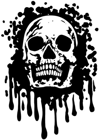 Abstract vector illustration skull with grunge texture
