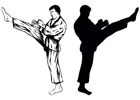Vector illustration of the sportsman training kick
